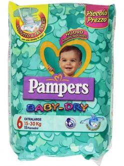 PAMPERS BABY DRY EXTRALARGE N.6 KG.15-30 PZ.15