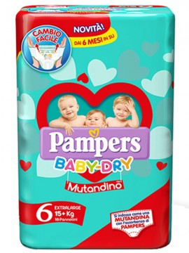 PAMPERS BABY DRY MUTANTINO JUNIOR X15