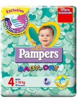 PAMPERS BABY DRY MAXI N.4 KG.7-18 PZ.19