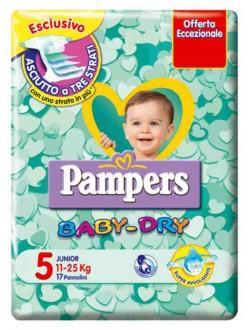 PAMPERS BABY DRY JUNIOR N.5 KG.11-25 PZ.17